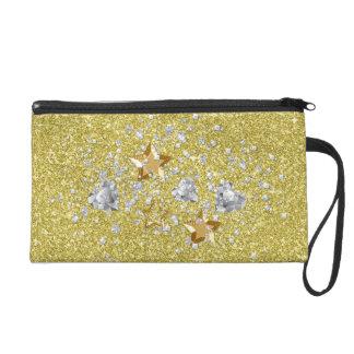 Gold & Silver Faux Glitter Stars Hearts & Confetti Wristlets