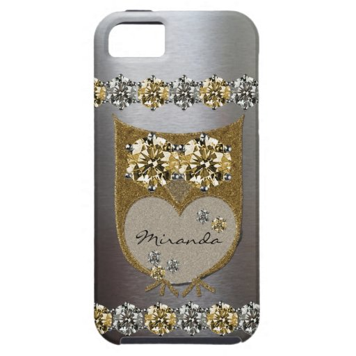 Gold Silver Faux Rhinestone Bling Owl Personalized iPhone 5 Cover