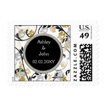 Gold silver floral wedding invitations postage