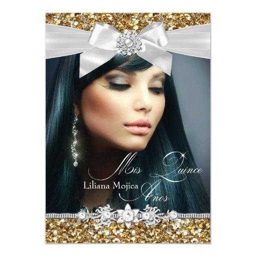 Gold Silver Glitter Bow Photo Quinceanera Invite
