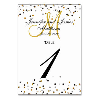 Gold Silver Glitz Glam Wedding Table Number Card