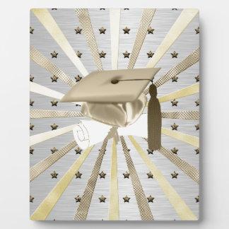 Gold Silver Graduation Cap Diploma, Stars, Lines Plaque