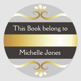 Gold Silver Gray This Book Belongs To Bookplates Stickers