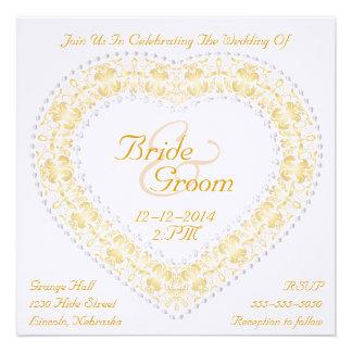 Gold & Silver Heart & Rainbow Wedding Invitation