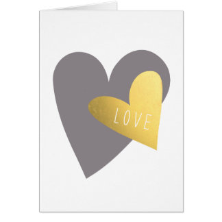 Gold Silver Hearts Valentine's Day Greeting Card