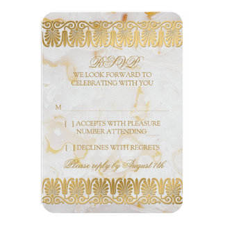 Gold Silver Marble Marbled Wedding RSVP Reply Card