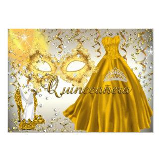 Gold & Silver Mask Masquerade Quinceanera Invite