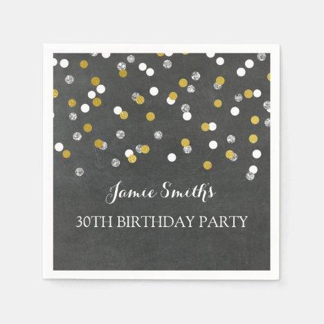Gold Silver Monogram 30th Birthday Napkin confetti