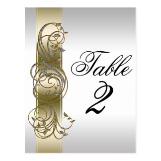 Gold Silver Ornate Formal  Table Number Postcard