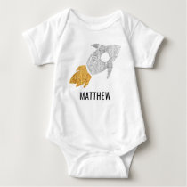 Gold Silver Personalized Rocket Outer Space Kids Baby Bodysuit