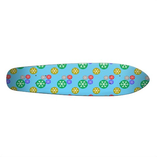Gold silver red green snowflakes on blue skateboards