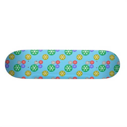 Gold silver red green snowflakes on blue skateboard decks