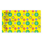 Gold silver red green snowflakes on yellow business card templates