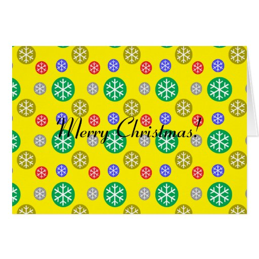 Gold silver red green snowflakes on yellow greeting card