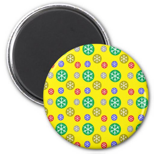 Gold silver red green snowflakes on yellow magnet