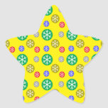 Gold silver red green snowflakes on yellow stickers