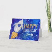 Gold Silver Rocket Ship Galaxy Birthday Party Card