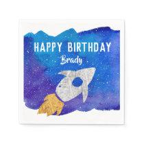 Gold Silver Rocket Ship Galaxy Birthday Party Napkins