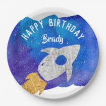 Gold Silver Rocket Ship Galaxy Birthday Party Paper Plate