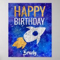 Gold Silver Rocket Ship Galaxy Birthday Party Poster