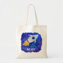 Gold Silver Rocket Ship Galaxy Personalized Kids Tote Bag