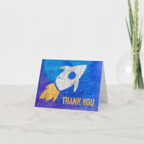 Gold Silver Rocket Ship Galaxy Thank You