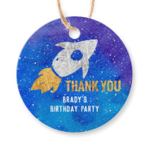 Gold Silver Rocket Ship Galaxy Thank You Space Favor Tags