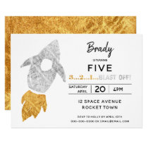 Gold Silver Rocket Ship Outer Space Birthday Party Invitation