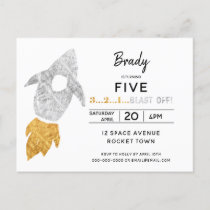 Gold Silver Rocket Ship Outer Space Birthday Party Invitation Postcard