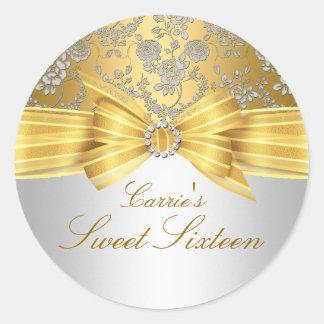 Gold & Silver Rose Sweet Sixteen Sticker