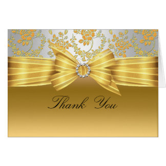 Gold & Silver Rose Thank You Card