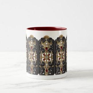 Gold, Silver, Ruby, and Diamond 100k coffee mug! Two-Tone Coffee Mug