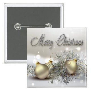 Gold & Silver Shimmer Christmas Ornaments 2 Inch Square Button