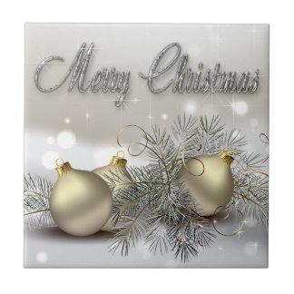 Gold & Silver Shimmer Christmas Ornaments Ceramic Tile