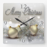 Gold & Silver Shimmer Christmas Ornaments Wall Clocks