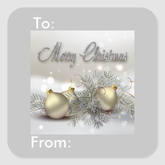 Gold & Silver Shimmer Christmas Ornaments Gift Tag Square Sticker