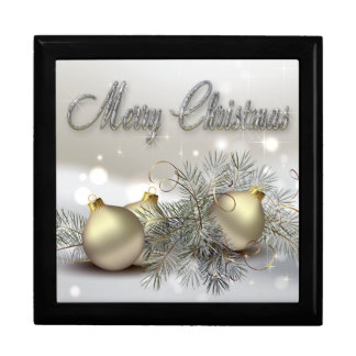 Gold & Silver Shimmer Christmas Ornaments Keepsake Box