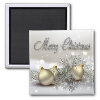 Gold & Silver Shimmer Christmas Ornaments Magnet
