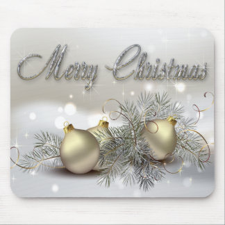 Gold & Silver Shimmer Christmas Ornaments Mouse Pad