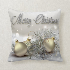 Gold & Silver Shimmer Christmas Ornaments Throw Pillows