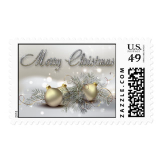 Gold & Silver Shimmer Christmas Ornaments Postage Stamps