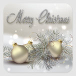 Gold & Silver Shimmer Christmas Ornaments Sticker