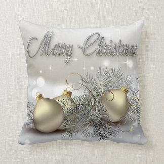 Gold & Silver Shimmer Christmas Ornaments Throw Pillow
