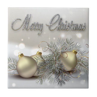 Gold & Silver Shimmer Christmas Ornaments Ceramic Tiles