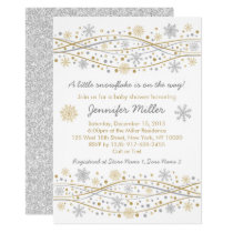 Gold & Silver Snowflake Baby Shower Card