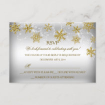 Gold & Silver Snowflake Christmas Holiday RSVP
