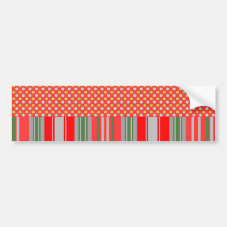 Gold silver snowflakes on red stripes car bumper sticker