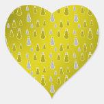 Gold silver snowmen on gold fade heart sticker