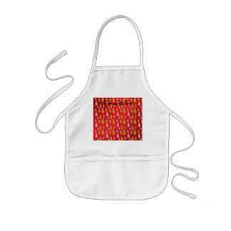 Gold silver snowmen on red fade aprons