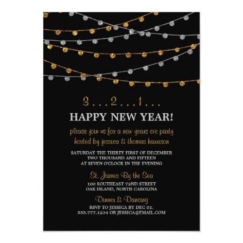 Gold & Silver String Lights New Years Eve Party 5x7 Paper Invitation Card